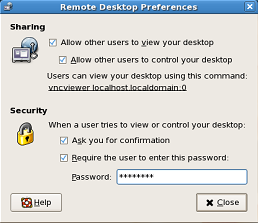 The desktop sharing dialog box in GNOME.