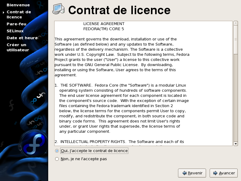 Fr FR VisiteGuidee FedoraCore6 014 Setup Accord Licence 014 Setup License Agreement fr.png