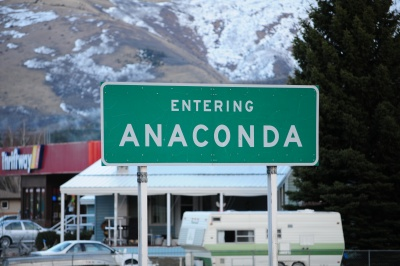 Entering Anaconda, Montana.  A city probably named after this installation program.  David Cantrell took this picture in 2011.  His grey VW Jetta is parked in the background.